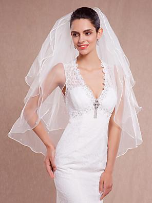 Véus de Noiva Três Camadas Véu Ponta dos Dedos Borda Lápis Tule Branco / Marfim