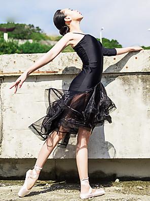 בלט שמלות בגדי ריקוד נשים ביצועים ספנדקס שכבות מדורגות / Ruched חלק 1 בלי שרוולים / חצי שרוול שמלות L:98CM,XL:103CM,XXL:108CM