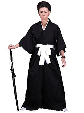 Inspirado por Fantasias Fantasias Anime Fantasias de Cosplay Ternos de Cosplay / Chimono Cor Única Preto 3/4 de MangaCapa de Kimono /