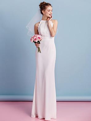 Lanting Bride Sheath/Column Wedding Dress-Floor-length Jewel Chiffon / Lace