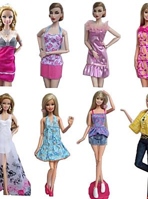 Prinsesse Kostume Til Barbie Doll Lilla / Hvid Trykt mønster Kjoler / Skjørter / Bukser / Toppe