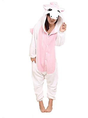 Kigurumi Pyjamas Unicorn Trikot/Heldragtskostumer Festival/Højtider Animal Nattøj Halloween Lyserød Patchwork Koralfleece Kigurumi For