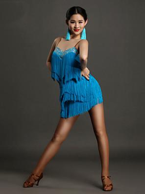 ריקוד לטיני שמלות בגדי ריקוד נשים ביצועים ספנדקס קריסטלים / rhinestones / גדיל (ים) חלק 1 בלי שרוולים טבעי שמלותS:89cm M:90cm L:91cm