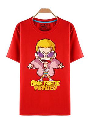 קיבל השראה מ One Piece Roronoa Zoro אנימה תחפושות קוספליי Cosplay חולצת טריקו דפוס אדום קצר עליון
