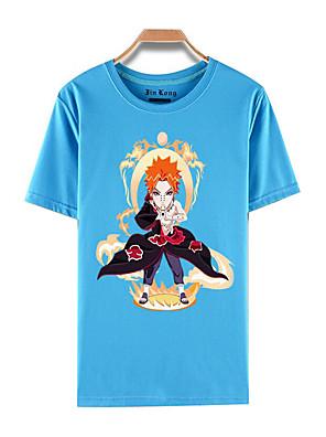 Inspirovaný Naruto Akatsuki Anime Cosplay kostýmy Cosplay T-shirt Tisk Niebieski Krátké rukávy Vrchní deska
