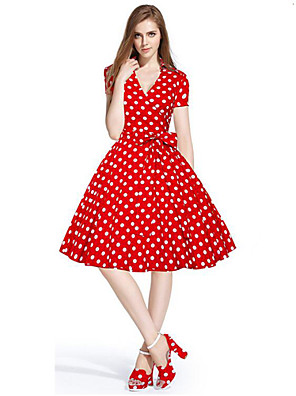Women's 50s Vintage Cherry Rockabilly Hepburn Pinup Cos Party Parka Business Swing Dress,Plus Size