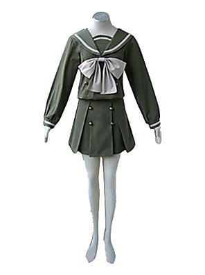 קיבל השראה מ Shakugan no Shana Shana אנימה תחפושות קוספליי חליפות קוספליי / תלבושות לבית הספר טלאים ירוק שרוולים ארוכיםעליון / חצאית /