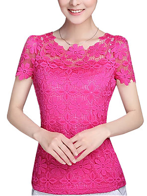 Summer Plus Size Women Solid Color Round Neck Short Sleeve Lace Blouse Slim Was Thin T-shirt Tops