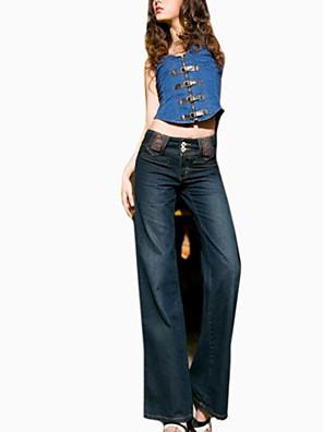 női divat laza molett széles láb jeans