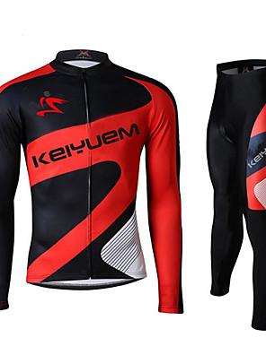 KEIYUEM® חולצה וטייץ לרכיבה לנשים / לגברים / יוניסקס שרוול ארוך אופנייםעמיד למים / נושם / ייבוש מהיר / עמיד / מבודד / מוגן מגשם / עמיד