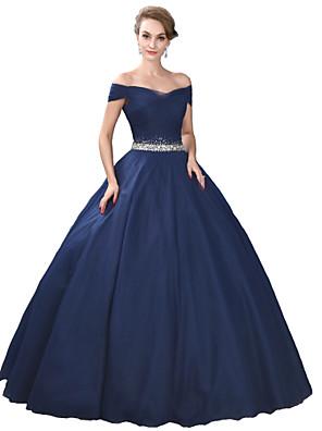 ערב רישמי שמלה נשף מתחת לכתפיים עד הריצפה סאטן / טול / סאטן נמתח עם פרטים מקריסטל