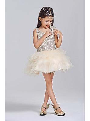 De Baile Curto / Mini Vestido para Meninas das Flores - Tule / Poliéster Sem Mangas Decote em U com