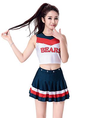 תלבושות למעודדות תלבושות בגדי ריקוד נשים ביצועים כותנה / פוליאסטר קפלים 2 חלקים בלי שרוולים גבוה חצאית / עליון