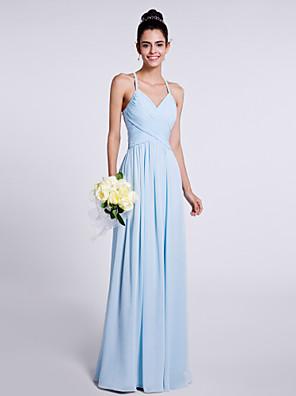 Lanting Bride® עד הריצפה שיפון שמלה לשושבינה - מעטפת \ עמוד רצועות ספגטי עם בד בהצלבה