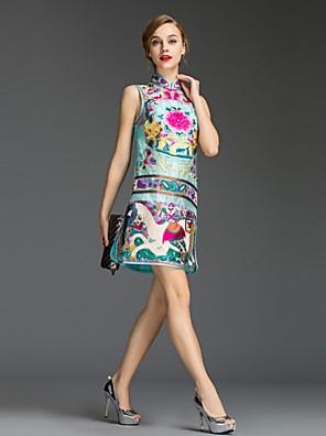Dame Simpel I-byen-tøj Skede Kjole Trykt mønster,Rullekrave Mini Uden ærmer Blå / Rosa / Sort Polyester Sommer Alm. taljede