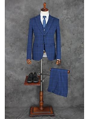 2017 חליפות חריץ לנכון רזה פוליאסטר רכיסת שני כפתורי פסי 3 חתיכות ישרות כחול התנופפו שחורות