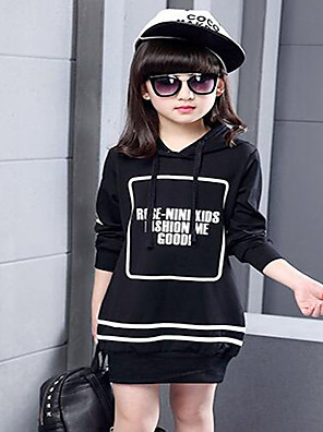 Girl's Casual/Daily Striped Hoodie & Sweatshirt,Cotton / Polyester Spring / Fall Black / White