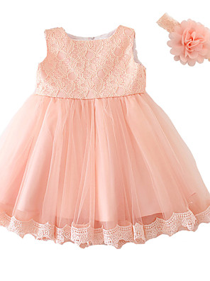 Baby Party/Cocktail Floral Dress,Polyester All Seasons Pink