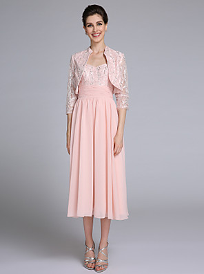 Lanting Bride Sheath / Column Mother of the Bride Dress Tea-length 3/4 Length Sleeve Chiffon / Lace with Sequins