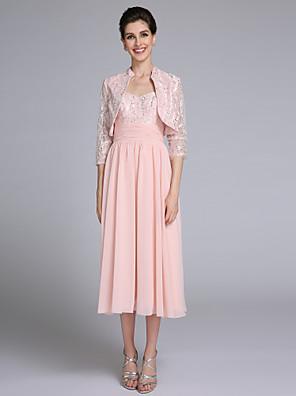 2017 Lanting bride® plášť / sloupec matka nevěsty šaty čaj délka 3/4 délka rukávu šifon / krajkou s ruching