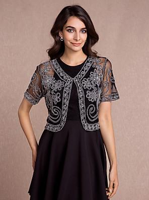 여성 숄 볼레로 짧은 소매 명주그물 블랙 / 화이트 / 골드 / 레드 파티/이브닝 / 캐쥬얼 V넥 42cm 무늬 숨겨진 걸쇠