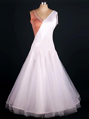Dança de Salão Roupa Mulheres Actuação Seda elástica-tipo Cetim / Organza Franzido 1 Peça Sem Mangas Natural Vestidos Dress One Size:125cm