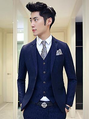 Suits Padrão Notch/ Paletó Comum 2 Butões Algodão Cor Solida 3 Peças Azul / Bordô Lapela Reta Sem Pregas (reta) Azul / Rosa ChoqueSem