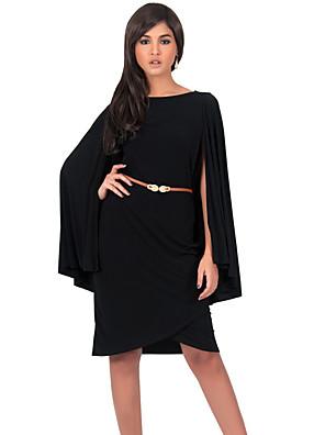 Mulheres Vestido,Formal / Tamanhos Grandes Vintage / Moda de Rua Sólido Decote Redondo Altura dos Joelhos Manga LongaVermelho / Preto /