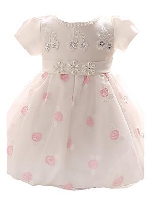 blauw / roze jurk Baby meisje, boog polyester all seasons