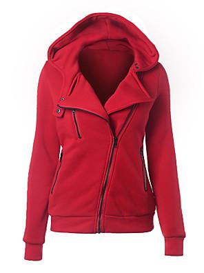 Mulheres Hoodies Simples Casual Sólido Rosa / Vermelho / Branco / Preto / Cinza / Verde / Amarelo Poliéster