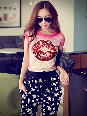 Rosa Doll® Damen Rundhalsausschnitt Kurze Ärmel T-Shirt Rosa-X15BTS105
