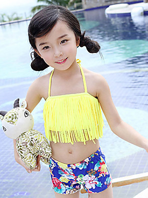 Girl's Sports Floral Swimwear,Polyester Summer White / Yellow