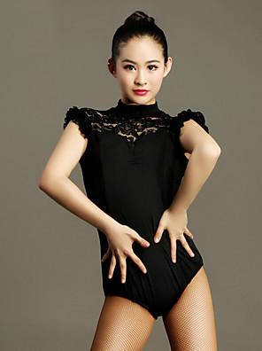 Dança Latina Malha Mulheres Actuação Renda / Viscose Renda 1 Peça Manga Curta Natural Malha Collant S:66cm M:67cm L:68cm XL:69cm XXL:70cm