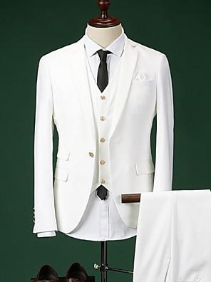 חליפות גזרה צרה פתוח Single Breasted One-button כותנה חלק 3 חלקים כחול / לבן / כחול נייבי דש ישר ללא (חלק קדמי שטוח)כחול / כחול בהיר /