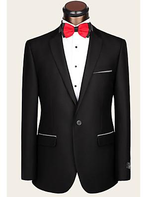 2017 חליפות מחויטות חריץ בכושר רכיסת צמר בלחיצת כפתור מוצקות 2 חתיכות ישר התנופפו אף שחור