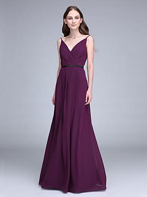 2017 Lanting bride® podlahy Délka šifónové družička šaty plášť / sloupec špagetová ramínka s korálkování