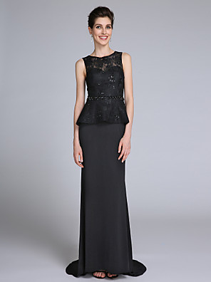 Lanting Bride Sheath / Column Mother of the Bride Dress Sweep / Brush Train Sleeveless Chiffon / Lace with  Sequins