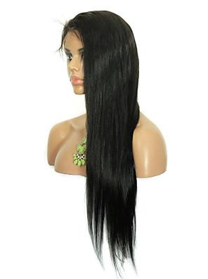 "8 ""-26"" brasiliansk virgin hår lige limfri blonde paryk blonder foran paryk med baby hår for sorte kvinder"