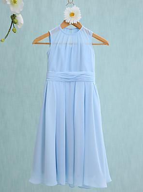2017 לנטינג bride® שיפון באורך ברך שושבינה הזוטר נדן שמלה / טור תכשיט עם ruching