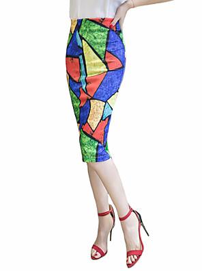 Katoen-Micro-elastisch-Grote maten-Midi-Vrouwen-Rokken