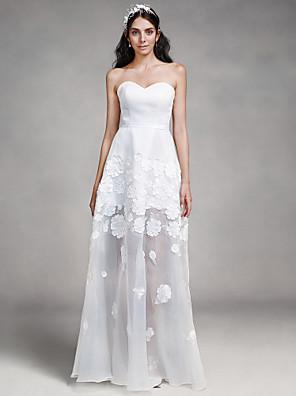 Lanting Bride® Sheath / Column Wedding Dress Floor-length Sweetheart Organza / Satin with Appliques