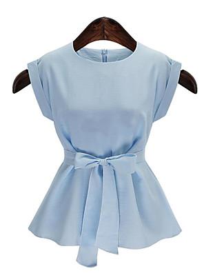 Uden ærmer Rund hals Medium Kvinders Blå / Hvid Ensfarvet Sommer Plusstørrelser Casual/hverdag Bluse,Bomuld