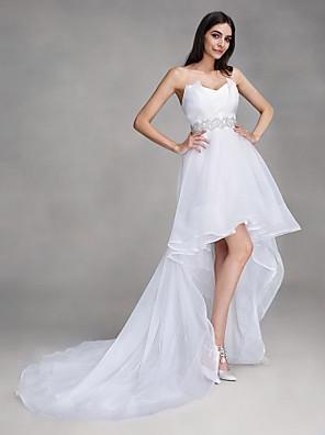 A-라인 웨딩 드레스 비대칭 스윗하트 오간자 와 크리스탈
