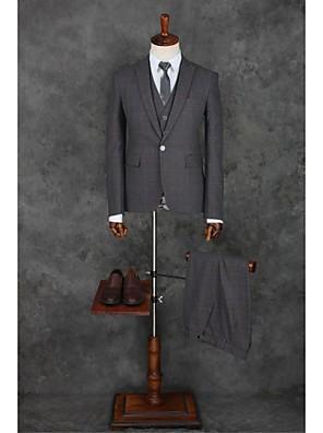 2017 obleky na míru fit vrchol jediný breasted jedním tlačítkem polyester gingham 3 ks tmavě šedá rovně třepotal