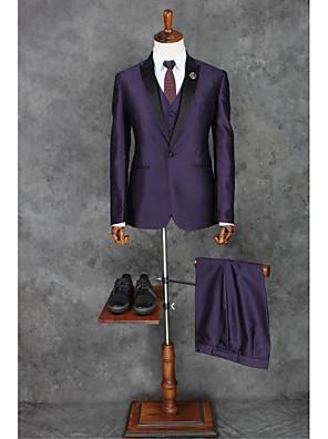 2017 Anzüge fit Spitzen Einreiher Ein-Knopf-Polyester solide 3 Stück lila gerade verrohrt zugeschnitten