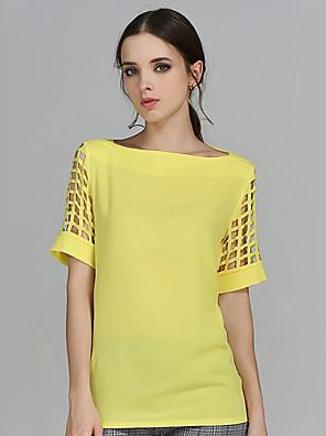 Kortærmet Bateau-hals Medium Kvinders Gul Ensfarvet Sommer Plusstørrelser / Street Casual/hverdag Bluse,Polyester