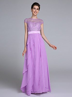 Lanting Bride Sheath / Column Mother of the Bride Dress Floor-length Short Sleeve Chiffon with Lace