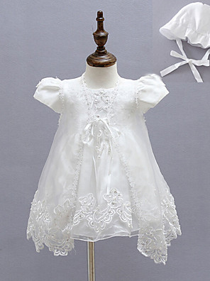 3pcs Baby Girl's White Dress, Bow Polyester All Seasons