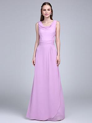 Lanting Bride® Na zem Šifón Šaty pro družičky - Pouzdrové Kutna s Šerpa / Stuha / Sklady