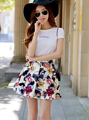 pink dukke kvinders blomstret nederdele, vintage / sød / sofistikeret over knæet